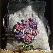 """Сумки и аксессуары ручной работы. Ярмарка Мастеров - ручная работа Вязаная сумка """"Цветочное настроение"""", фиолетово-лилово-розовая. Handmade."""