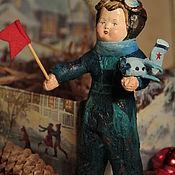 """Куклы и игрушки ручной работы. Ярмарка Мастеров - ручная работа Продан. Винтажная ватная игрушка """" Лёшка пилот- отправляется в полёт"""". Handmade."""