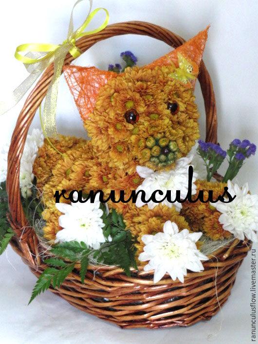 Букеты ручной работы. Ярмарка Мастеров - ручная работа. Купить Лиса из цветов. Handmade. Комбинированный, игрушка из живых цветов, лисица