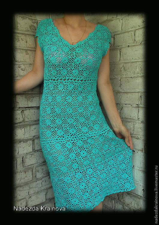 Платья ручной работы. Ярмарка Мастеров - ручная работа. Купить Платье. Handmade. Бирюзовый, хлопок