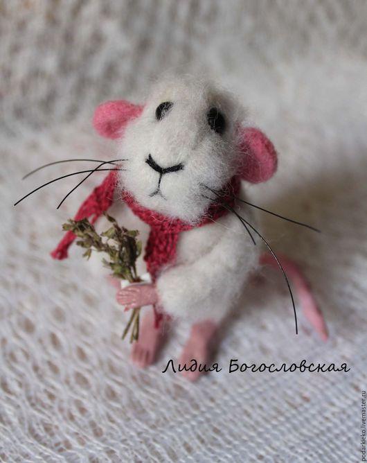 Игрушки животные, ручной работы. Ярмарка Мастеров - ручная работа. Купить Валяная мышь Пиар. Handmade. Белый, мышь игрушка