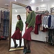 Одежда ручной работы. Ярмарка Мастеров - ручная работа Бордовая юбка миди из шерсти, теплая шерстяная юбка винного цвета. Handmade.