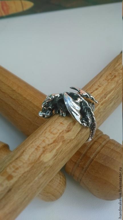 """Кольца ручной работы. Ярмарка Мастеров - ручная работа. Купить Кольцо-оберег  """"Добрый дракончик"""" из серебра 925 пробы. Handmade."""