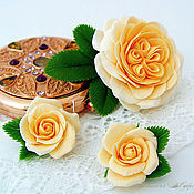 Украшения handmade. Livemaster - original item Kit with cream roses. Flowers from polymer clay.. Handmade.