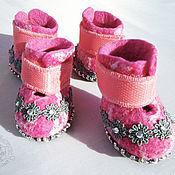 Для домашних животных, ручной работы. Ярмарка Мастеров - ручная работа Розовые ботиночки. Handmade.