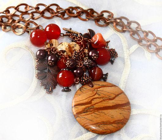 Колье, бусы ручной работы. Ярмарка Мастеров - ручная работа. Купить Колье Цвет Осени из натуральных камней. Handmade. Рыжий