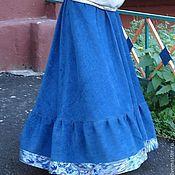Одежда ручной работы. Ярмарка Мастеров - ручная работа Юбка длинная вельветовая синяя. Handmade.