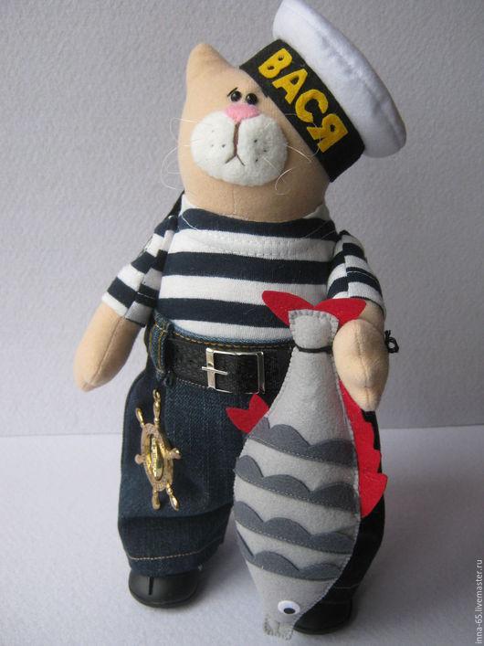 Игрушки животные, ручной работы. Ярмарка Мастеров - ручная работа. Купить Кот Вася интерьерная текстильная игрушка. Handmade. Комбинированный