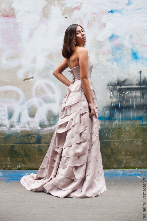 Одежда и аксессуары ручной работы. Ярмарка Мастеров - ручная работа. Купить Свадебное платье из шелка. Handmade. Бледно-розовый