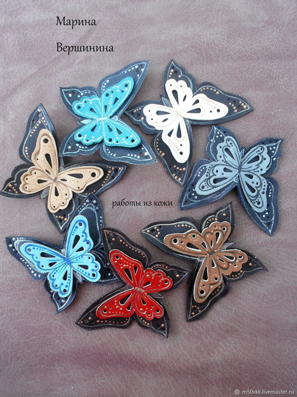 Броши-бабочки из натуральной кожи, Брошь-булавка, Сызрань,  Фото №1