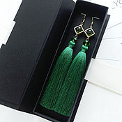 Украшения handmade. Livemaster - original item Green tassel earrings with gold plated chinsamy. Handmade.