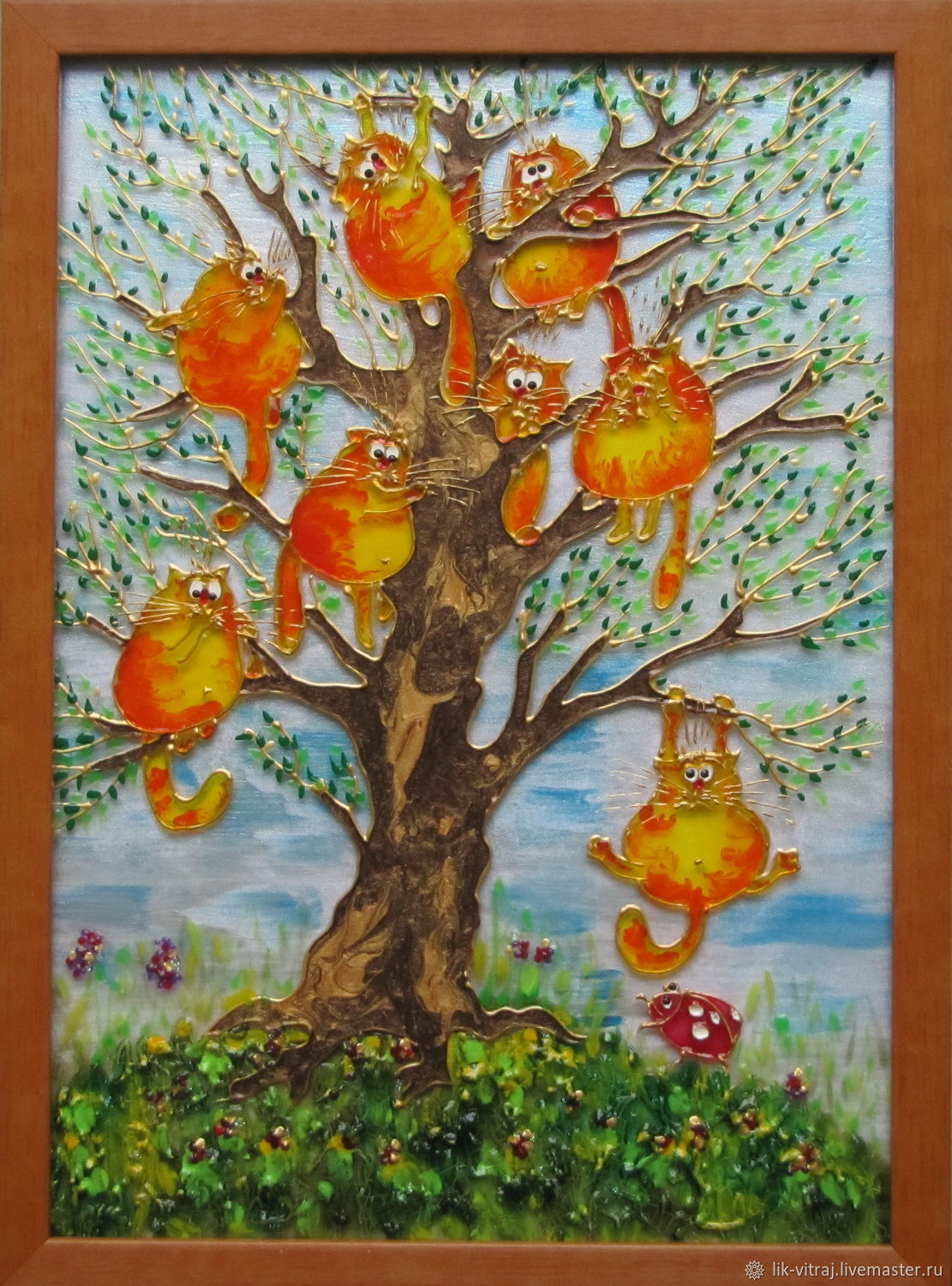 Stained glass painting Spring has come. Blue cats by Rina, Sanuk, Pictures, Severodonetsk,  Фото №1