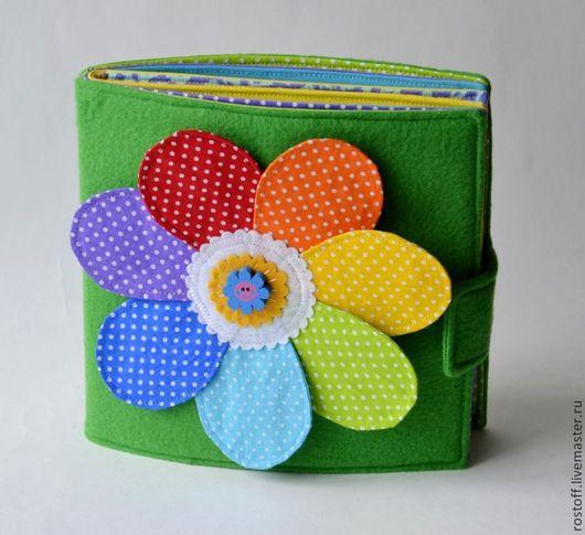 """Развивающие игрушки ручной работы. Ярмарка Мастеров - ручная работа. Купить Развивающая книжка """"Семицветик""""  от 1 года.. Handmade. Разноцветный"""