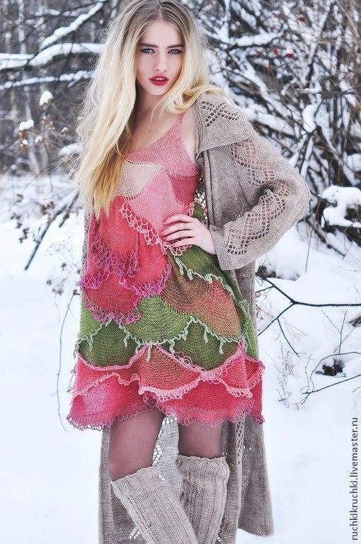 """Платья ручной работы. Ярмарка Мастеров - ручная работа. Купить Платье """"Зимняя роза"""" вязаное спицами и крючком. Handmade."""