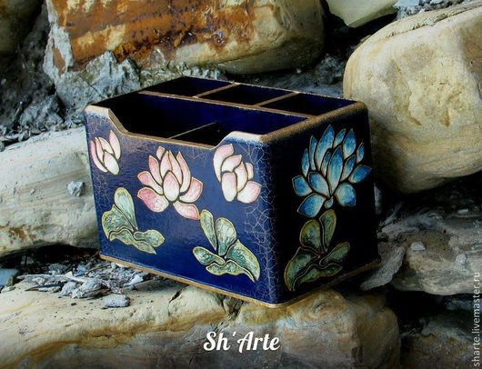Карандашницы ручной работы. Ярмарка Мастеров - ручная работа. Купить Карандашница в китайском стиле Лотосы. Handmade. Тёмно-синий