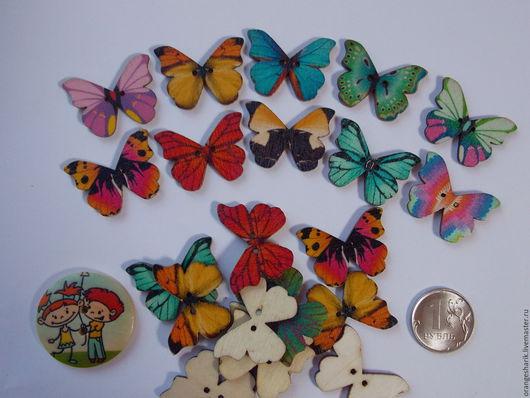 Другие виды рукоделия ручной работы. Ярмарка Мастеров - ручная работа. Купить Пуговицы деревянные Бабочки-2. Handmade. Разноцветный
