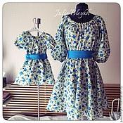 """Платья для мамы и дочки """"Голубая роза"""""""