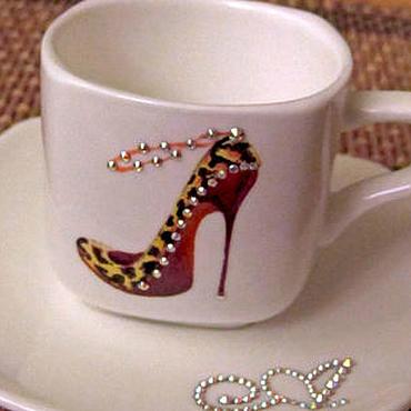 """Посуда ручной работы. Ярмарка Мастеров - ручная работа Кофейные чашечки """"Дамский каблучок"""" Swarovski. Handmade."""