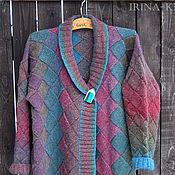 Одежда ручной работы. Ярмарка Мастеров - ручная работа Жакет вязаный из Кауни бордо, вязаный кардиган, энтерлак. Handmade.