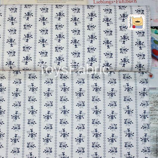 Шитье ручной работы. Ярмарка Мастеров - ручная работа. Купить Ткань чешский хлопок Синие цветы на белом Ч08. Handmade.