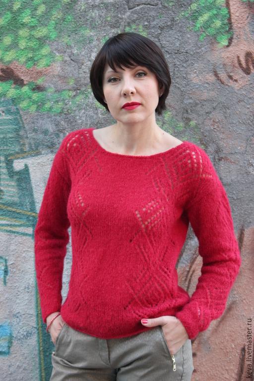 Кофты и свитера ручной работы. Ярмарка Мастеров - ручная работа. Купить Нежный малиновый пуловер из альпаки на шелке. Handmade.