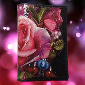 Канцелярские товары ручной работы. Ярмарка Мастеров - ручная работа Обложка на паспорт Лиловая роза .бабочка,фиолетовый цвет. Handmade.