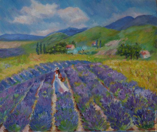 Пейзаж ручной работы. Ярмарка Мастеров - ручная работа. Купить Лавандовое поле. Handmade. Фиолетовый, сиреневый цвет, зеленый, прованс