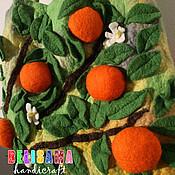 """Классическая сумка ручной работы. Ярмарка Мастеров - ручная работа Волшебная хозяйственная сумка из войлока """"Апельсины"""". Handmade."""