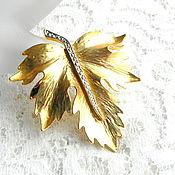 Винтаж handmade. Livemaster - original item Brooch Leaf gold leaf leaf,autumn leaf,leaf fall,vintage,brooch. Handmade.