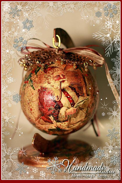 Новый год 2017 ручной работы. Ярмарка Мастеров - ручная работа. Купить Новогодний шар. Handmade. Шар новогодний, Новый Год