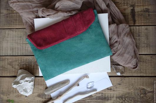 Женские сумки ручной работы. Ярмарка Мастеров - ручная работа. Купить клатч из замши Прохладные травы. Handmade. Прохлада