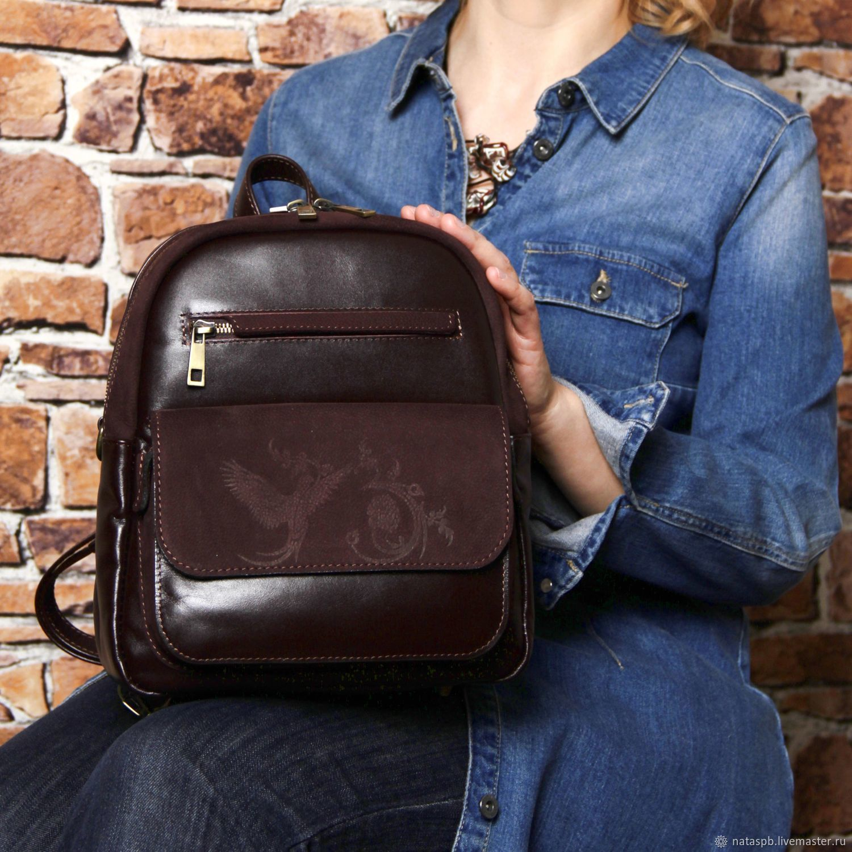 Backpack leather womens Burgundy Nicole Mod SR29-482, Backpacks, St. Petersburg,  Фото №1