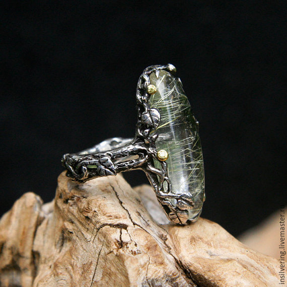 "Серебряное кольцо ""Лучи Солнца"" с кварцем-волосатиком и 5 сапфирами, Кольца, Денпасар,  Фото №1"