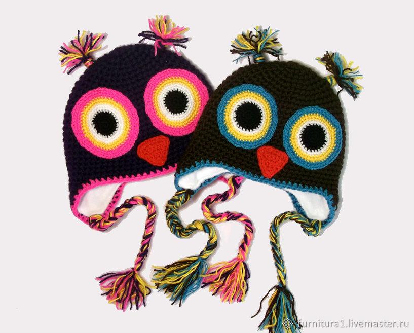 Одежда шапка сова для девочки теплая вязаная зимняя  черная розовая, Одежда, Москва,  Фото №1