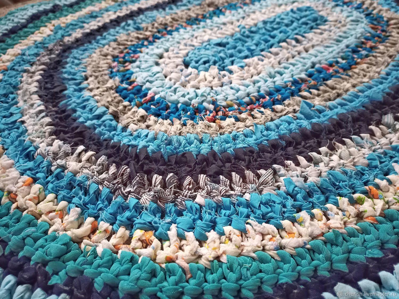 Голубой вязаный коврик в деревенском стиле, Ковры, Кириши,  Фото №1