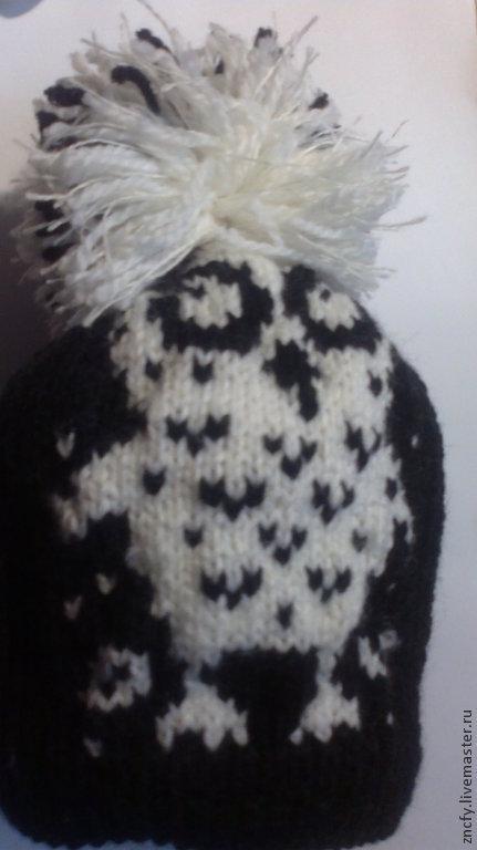 Шапки ручной работы. Ярмарка Мастеров - ручная работа. Купить Женская шапочка. Handmade. Чёрно-белый, теплая шапка