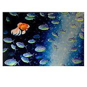 Картины и панно ручной работы. Ярмарка Мастеров - ручная работа Картина Маслом Рыбы. Handmade.