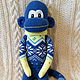 Игрушки животные, ручной работы. Ярмарка Мастеров - ручная работа. Купить Носочная обезьянка-сисадмин в зимнем свитере. Handmade. синий