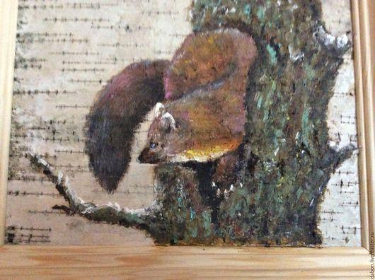 Животные ручной работы. Ярмарка Мастеров - ручная работа. Купить Картина на бересте Куница. Handmade. Коричневый, дерево, берестяной