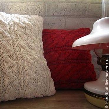 Textiles handmade. Livemaster - original item Red/white pillow cover for a throw pillow. Cotton. Handmade.