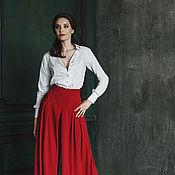 Одежда ручной работы. Ярмарка Мастеров - ручная работа Юбка-брюки красного цвета.. Handmade.