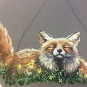 Зонт с росписью - Лиса фыр-фыр-фыр