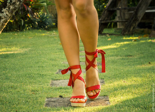 Обувь ручной работы. Ярмарка Мастеров - ручная работа. Купить Босоножки из натуральной кожи  Hoda. Handmade. Красный, босоножки, сандалии