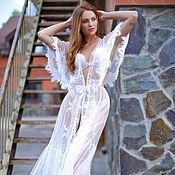 Одежда handmade. Livemaster - original item Long Tulle Bridal Robe with Lace F20, Lace-trimmed Tulle Bridal Robe,. Handmade.