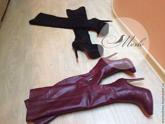 Обувь ручной работы. Ярмарка Мастеров - ручная работа. Купить Ботфорты бордовая натуральная кожа 12 см. Handmade.