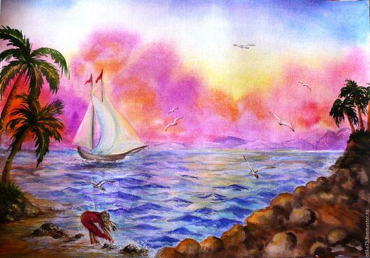 Пейзаж ручной работы. Ярмарка Мастеров - ручная работа. Купить Закат на море. Handmade. Комбинированный, акварельный пейзаж, пейзаж с морем