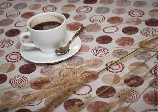 Текстиль, ковры ручной работы. Ярмарка Мастеров - ручная работа. Купить Скатерть светлые кружки. Handmade. Бежевый, оригинальный текстиль