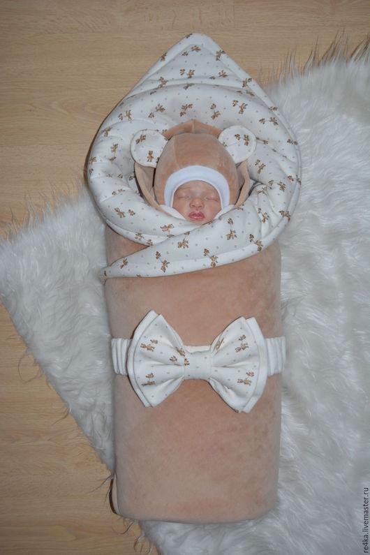 Для новорожденных, ручной работы. Ярмарка Мастеров - ручная работа. Купить МИШУТКА БЕЖЕВЫЙ. Handmade. Из роддома, трикотаж