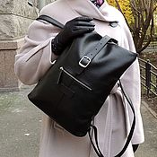 Сумки и аксессуары handmade. Livemaster - original item Backpacks: Bag-backpack leather women`s black Avery Mod SR34-711. Handmade.