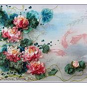 Картины и панно ручной работы. Ярмарка Мастеров - ручная работа картина Золотые рыбки и лотос. Handmade.